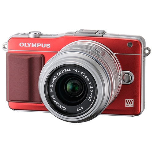 Olympus E-PM2 Mirrorless Micro Four Thirds Digital Camera with 14-42mm f/3.5 - 5.6 II Lens (Red Camera, Silver Lens)