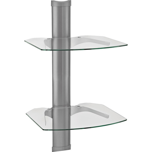 OmniMount Tria 2 P Wall Shelf System (Platinum with Clear Glass)