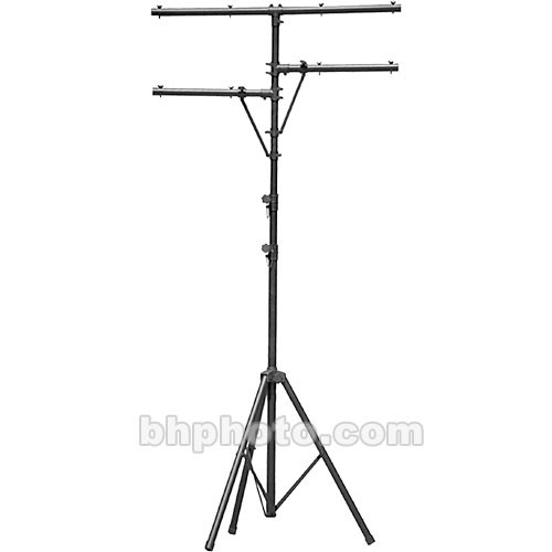 On-Stage Lighting Stand with Side Bars (Black, 10.5')