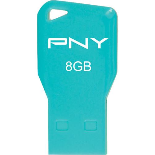 PNY Technologies 8GB Key Attache USB 2.0 Flash Drive (Aqua)