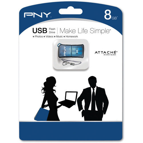 PNY Technologies Micro Sleek Attache 8GB USB Flash Drive (Blue)