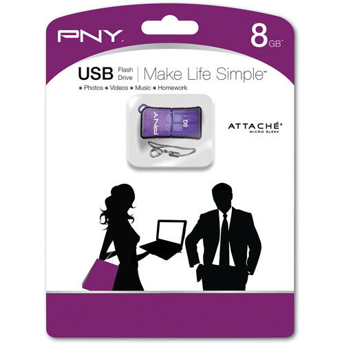 PNY Technologies Micro Sleek Attache 8GB USB Flash Drive (Purple)