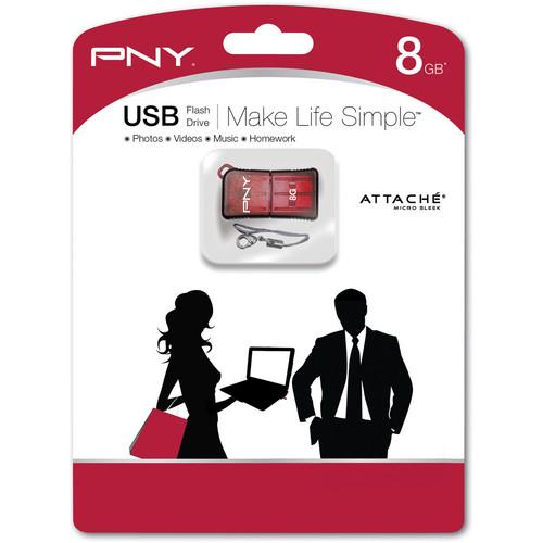 PNY Technologies Micro Sleek Attache 8GB USB Flash Drive (Red)
