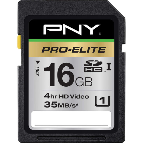 PNY Technologies 16GB SDHC Memory Card Pro-Elite Series Hi-Speed Class 10 UHS-1