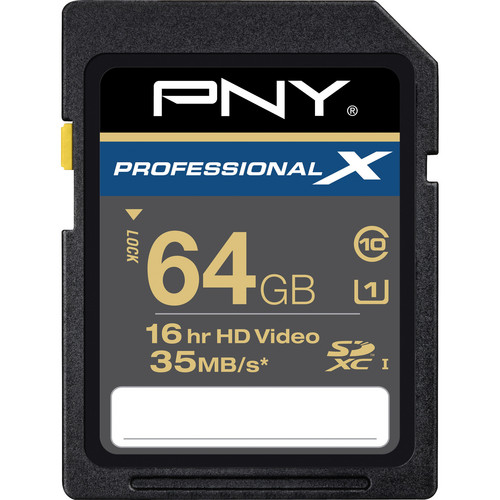 PNY Technologies 64 GB SDXC Memory Card Professional X Series Class 10 UHS-I