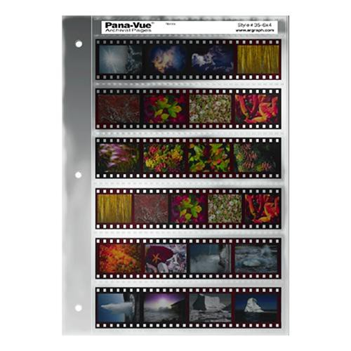 Pana-Vue 35mm Negative Pages (6 Strip/4 Frame, 25 Pages)
