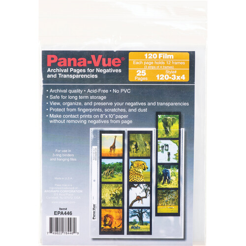 Pana-Vue 120 Archival Negative Page (3 Strip, 4 Frames, 25 Pages)