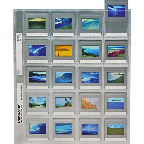 Pana-Vue Storage Page for Slides - 35mm - Top Loading with Data Panel - Pack of 25