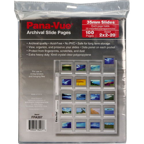Pana-Vue Storage Page for Slides, 35mm, Top Load w/Data Panel - 100