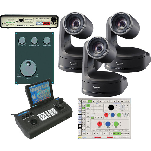Panasonic AW-HE120K HD PTZ Camera (x3) and Control System Kit from B&H