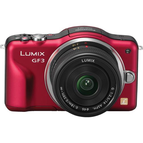Panasonic Lumix DMC-GF3 Digital Camera with 14mm Lens Kit (Red)