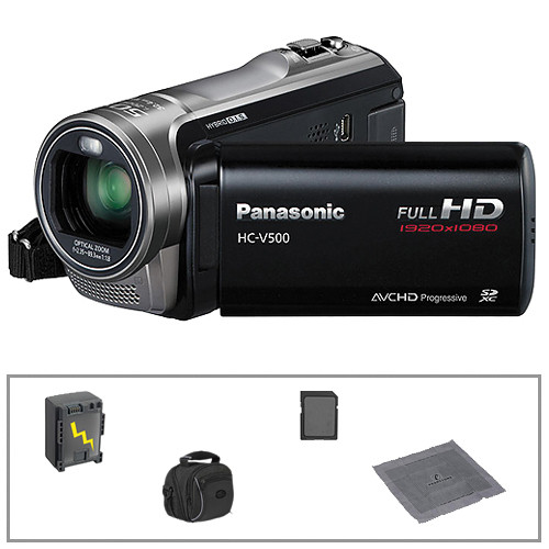 Panasonic HC-V500 Full HD Camcorder with Basic Accessories B&H Kit