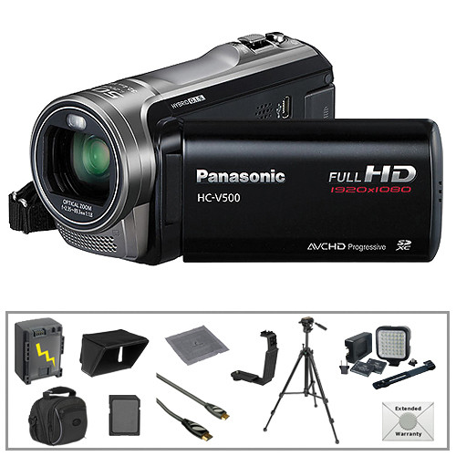 Panasonic HC-V500 Full HD Camcorder with Deluxe Accessories B&H Kit