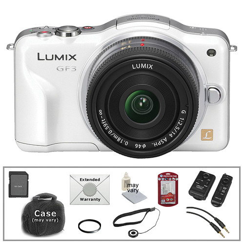 Panasonic Lumix DMC-GF3 Digital Camera w/14mm Lens & Basic Accessory Kit (White)