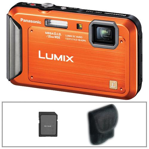 Panasonic Lumix DMC-TS20 Digital Camera (Orange) with Basic Accessory Kit