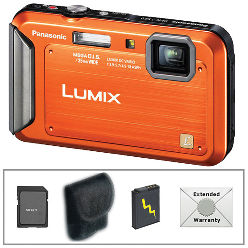 Panasonic Lumix DMC-TS20 Digital Camera Deluxe Accessory Kit (Orange)