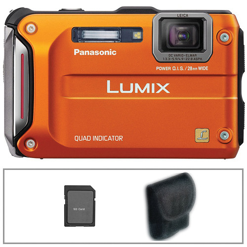 Panasonic Lumix DMC-TS4 Digital Camera (Orange) with Basic Accessory Kit