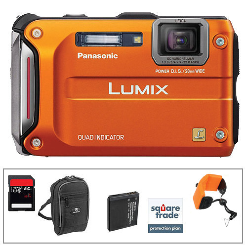 Panasonic Lumix DMC-TS4 Digital Camera (Orange) with Deluxe Accessory Kit