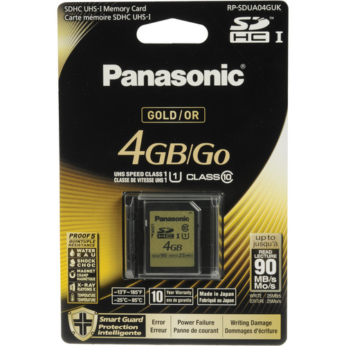 Panasonic 4GB SDHC Memory Card Gold Series Class 10 UHS-I