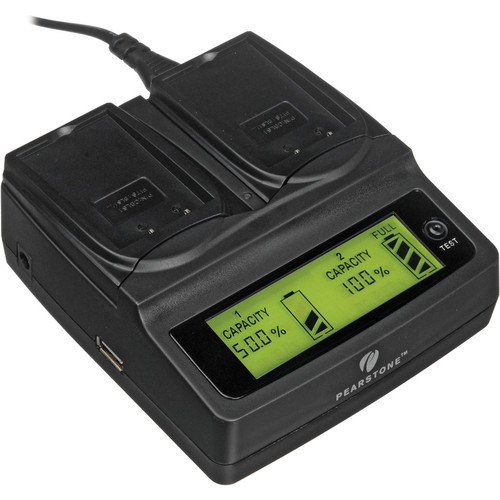 Pearstone Duo Battery Charger for Olympus PS-BLS1