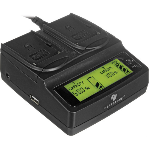 Pearstone Duo Battery Charger for Select Sony NPF-, NPFM-, and NP-QM Series Batteries