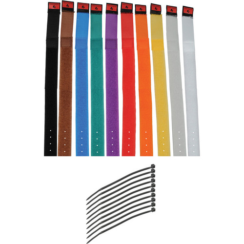 "Pearstone 1 x 14"" Touch Fastener Cable Straps (Multi-Colored, 10-Pack)"