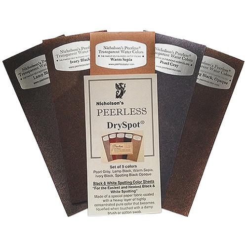 PEERLESS-COLOR Dry Spot Retouching Dye Sheet Set for Black & White Prints - 5 Color