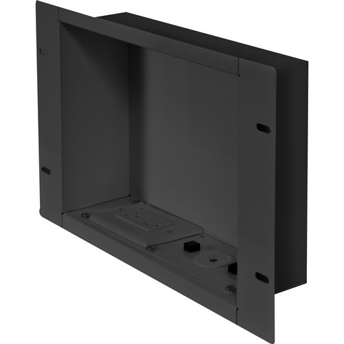 Peerless-AV In-Wall Cable Management and Storage Box with Surge-Protected Duplex Receptacle (Gloss Black)
