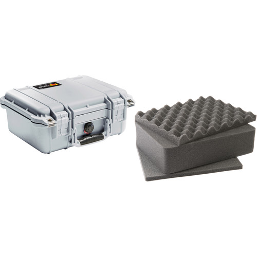 Pelican 1400 Case with Foam (Silver)