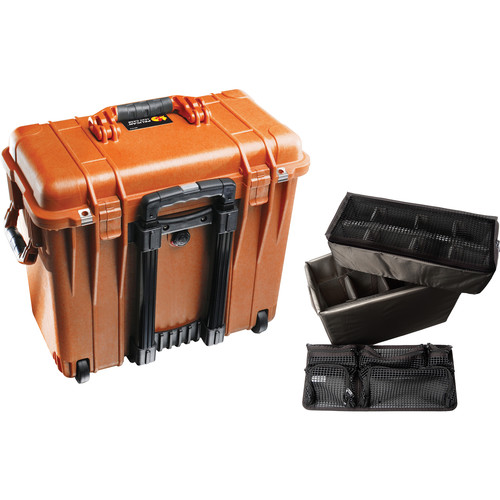 Pelican 1440 Wheeled Top Loader Case with Utility Padded Divider Set and Lid Organizer (Orange)