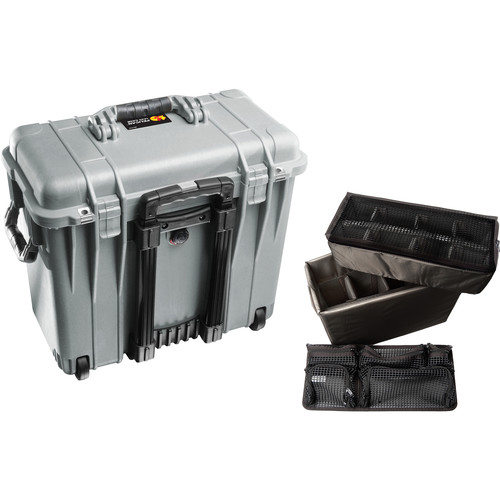 Pelican 1440 Wheeled Top Loader Case with Utility Padded Divider Set and Lid Organizer (Silver)