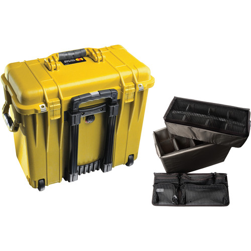 Pelican 1440 Wheeled Top Loader Case with Utility Padded Divider Set and Lid Organizer (Yellow)