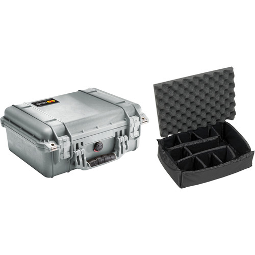 Pelican 1450 Case with Dividers (Silver)