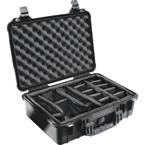 Pelican 1504 Waterproof 1500 Case with Padded Black Dividers (Black)