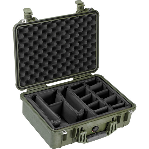 Pelican 1504 Waterproof 1500 Case with Padded Black Dividers (Olive Drab Green)