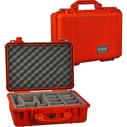 Pelican 1504 Waterproof 1500 Case with Padded Black Dividers (Orange)