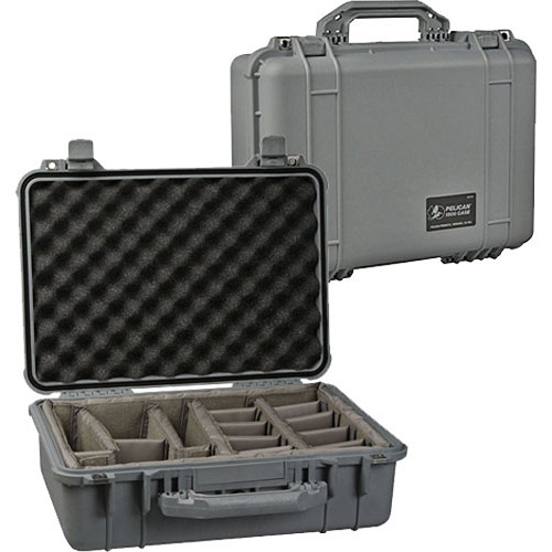 Pelican 1504 Waterproof 1500 Case with Black Divider Set (Silver)