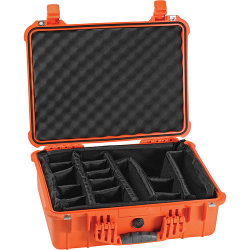 Pelican 1524 Waterproof 1520 Case with Padded Dividers (Orange)