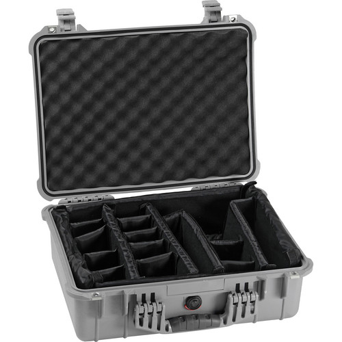 Pelican 1524 Waterproof 1520 Case with Padded Dividers (Silver)