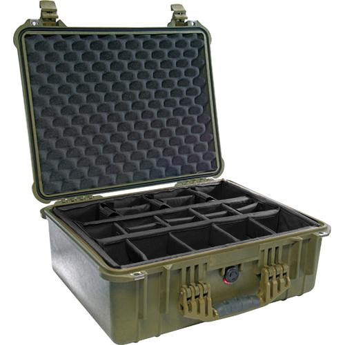 Pelican 1554 Waterproof 1550 Case with Black Divider Set (Olive Drab Green)