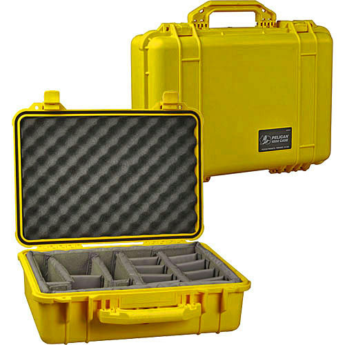 Pelican 1554 Waterproof 1550 Case with Dividers (Yellow)