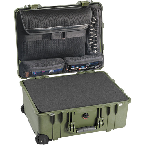 Pelican 1560LFC Case with Foam in Base (Green)
