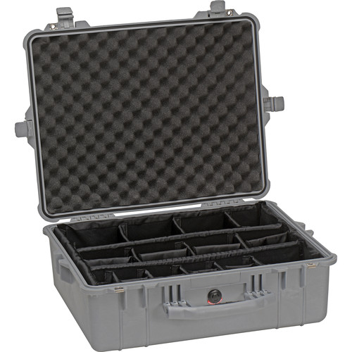 Pelican 1604 Waterproof 1600 Case with Dividers (Silver)