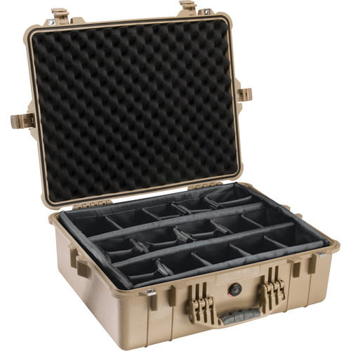 Pelican 1604 Waterproof 1600 Case with Dividers (Desert Tan)