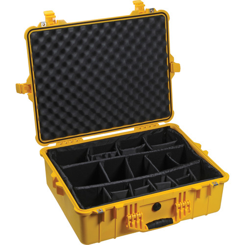 Pelican 1604 Waterproof 1600 Case with Dividers (Yellow)