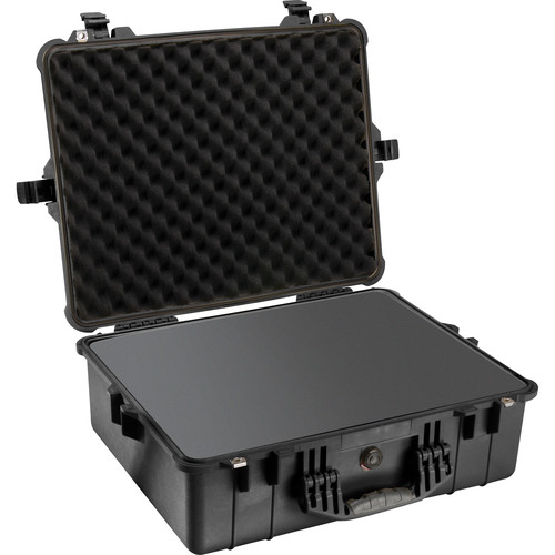 Pelican 1600 Case with Foam and Black Divider Set Black