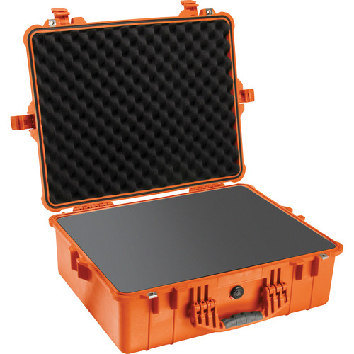 Pelican 1600 Case with Foam and Black Divider Set Orange