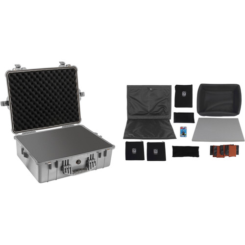 Pelican 1600 Case with Foam and Black Divider Set Silver