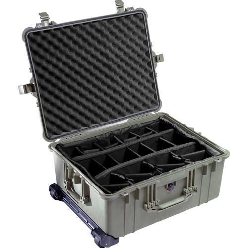 Pelican 1614 Waterproof 1610 Case with Dividers (Olive Drab Green)