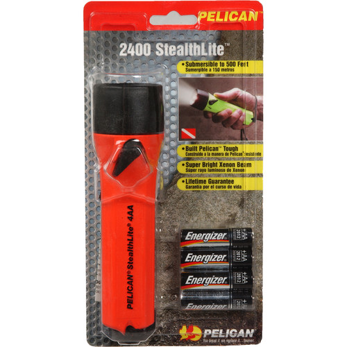Pelican Stealthlite 2400 Flashlight 4 'AA' Xenon Lamp (Orange)
